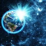 Blå planet i härligt utrymme Royaltyfri Fotografi