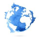 Blå planetjord för vattenfärg Royaltyfri Fotografi