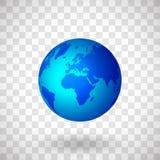 Blå planetjord på genomskinlig bakgrund Isolerat objekt med skugga vektor illustrationer