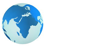 Blå planetjordsnurr som isoleras på vit bakgrund stock illustrationer