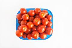 Blå plast- ask mycket av isolerade tomater Arkivfoto