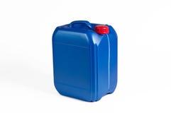 Blå plast- bensindunk Arkivfoton