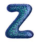 Blå plast- bokstav Z med abstrakta hål 3d Arkivbilder