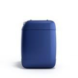 Blå plast- illustration för bensindunk 3d på en vit bakgrund Arkivfoto