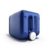 Blå plast- illustration för bensindunk 3d på en vit bakgrund Royaltyfri Bild