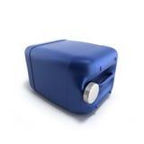 Blå plast- illustration för bensindunk 3d på en vit bakgrund Royaltyfri Fotografi