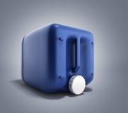 Blå plast- illustration för bensindunk 3d på lutningbakgrund Royaltyfria Foton