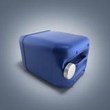 Blå plast- illustration för bensindunk 3d på lutningbakgrund Fotografering för Bildbyråer