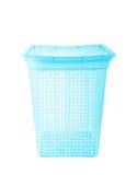 Blå plast- korg på vit Arkivbild