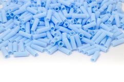 Blå plast- pärla Arkivfoton