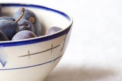 Blå plommon som ligger i soppaplatta Ny bakgrund för violett färg Arkivfoton