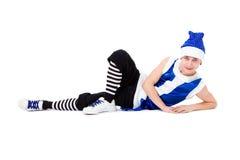blå pojkejulhatt liggande santa Fotografering för Bildbyråer