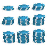 Blå poker Chips Stacks Vector realistisk 3D Arkivfoto