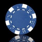 Blå pokerchip Arkivbilder