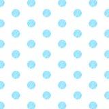 Blå polka Dot Pattern på vit bakgrund Arkivbild