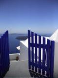 blå port Arkivbild