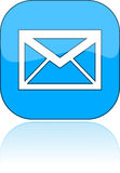 blå post för e-symbolsillustration Royaltyfri Fotografi