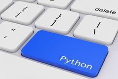 Blå pytonormtangent på det vita PCtangentbordet framförande 3d stock illustrationer