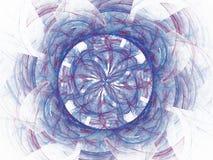 Blå röd abstrakt fractal i form av en blom- modell Arkivfoto