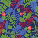Blå, röd och grön sömlös modell för vektor med ormbunkar, sidor och den lösa blomman Passande för textil, gåvasjal och tapet vektor illustrationer