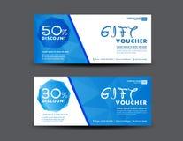 Blå rabattkupongmall, kupongdesign, biljett, baner, bil Royaltyfri Foto