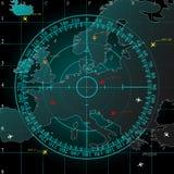 Blå radarskärm vektor illustrationer