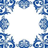Blå ram/gräns i damast barock stil Arkivfoton
