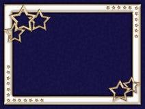 Blå ram med metallstjärnor royaltyfri bild
