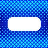 Blå rastrerad bakgrund med det vita banret. Royaltyfri Bild