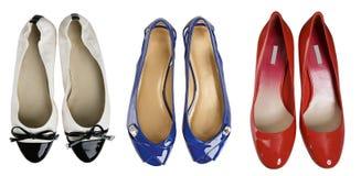 blå red shoes white Royaltyfri Fotografi