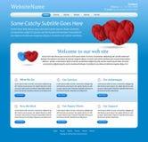 blå redigerbar medicinsk mallwebsite Arkivbilder
