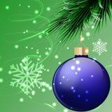 Blå regnbågsskimrande julboll Arkivbilder