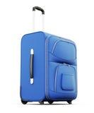 Blå resväska som isoleras på vit bakgrund 3d framför image Royaltyfri Fotografi