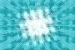 Blå retro bakgrund för popkonst med exploderande strålar av blixt c stock illustrationer