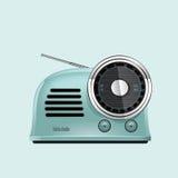 Blå retro stilradio för pastell stock illustrationer