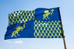 Blå ridderlig heraldisk flagga Royaltyfri Fotografi