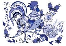 blå rooster royaltyfri foto