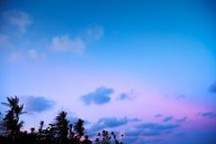 Blå rosa himmel för skymning Royaltyfri Foto