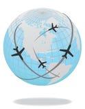 blå routevärld för flygplan Royaltyfri Foto