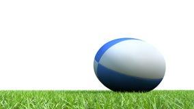 Blå rugbyboll på gräs V03 Royaltyfria Foton