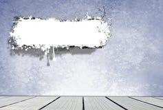 Blå ruminre med vitt stekflottkopieringsutrymme Arkivbild