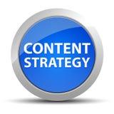 Blå rund knapp för innehållsstrategi stock illustrationer