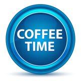 Blå rund knapp för kaffeTid ögonglob royaltyfri illustrationer