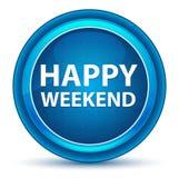 Blå rund knapp för lycklig helgögonglob stock illustrationer