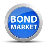 Blå rund knapp för obligationsmarknad stock illustrationer