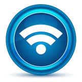 Blå rund knapp för Wifi symbolsögonglob vektor illustrationer
