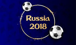 Blå Ryssland fotbollbakgrund 2018 med bollar Royaltyfria Bilder