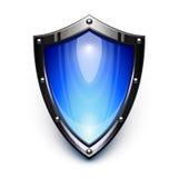 blå säkerhetssköld Arkivfoto