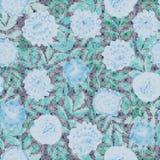 Blå sömlös blom- vektormodell med mosaiktextur royaltyfri illustrationer