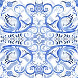 Blå sömlös ljus modell i etnisk stil Gzhel en vattenfärgsubstrate Stiliserad målning på porslin Royaltyfria Bilder